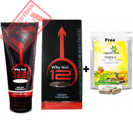 """WHY NOT 12""""-100gr + Free Power-X Penis Enlargement Massage Cream Men's Extender Delay Extension Sex Penis Growth Pack FOR MEN Health Stud Sexual Supplement Maximum Strength rolonged Intimacy Stimulant"""