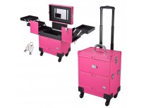 AW Pink Rolling Makeup Train Case Artist Beauty Trolley Cosmetic Organizer Box Handle Mirror 4 360-degreed Wheels