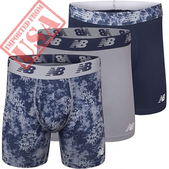 """New Balance Men's 6"""" Boxer Brief Fly Front with Pouch, 3-Pack"""