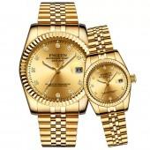 FNGEEN 3301 Men Top Brand Luxury Business Couple Watch Waterproof High-end Crystal Gold Watch Quartz Calendar Clock Wristwatches