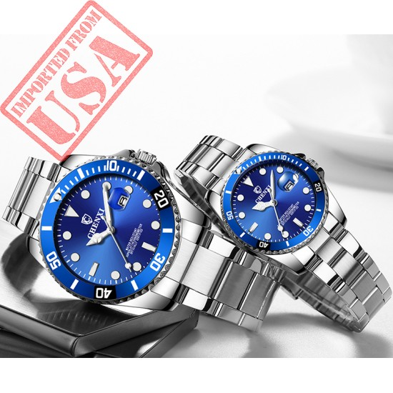 High Quality Custom Men Women Wristwatch Lover Stainless Steel Quartz Couple Watch Set
