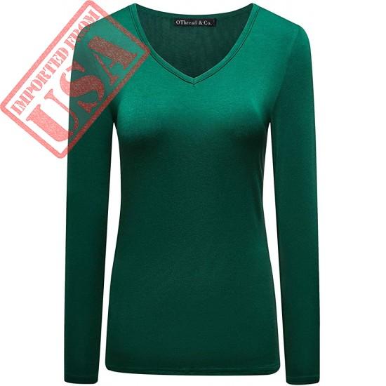 OThread & Co. Women's Short Sleeve T-Shirt V-Neck Plain Basic Spandex Tee