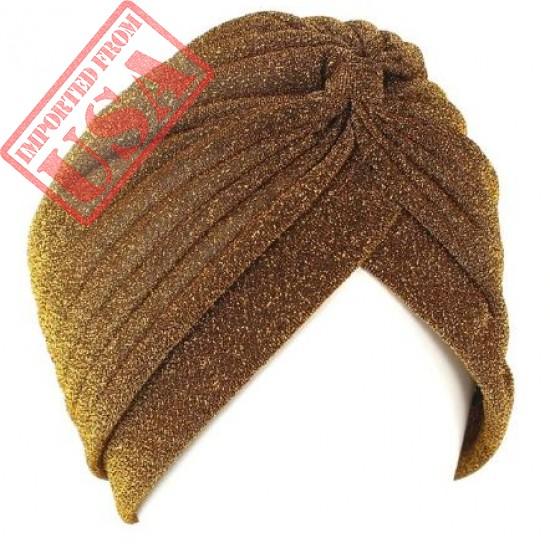 Bling Gold Silk Headband Knot Twist Turban Cap Warm Headwear Casual Indian Hat Women Men Fashion Shiny Muslim Hijab Fashion