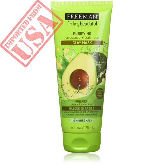 Freeman Purifying Clay Facial Mask, Oil Absorbing and Hydrating Beauty Face Mask with Avocado and Oatmeal, 6 oz
