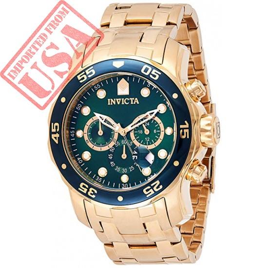 Original Invicta Men's 0075 Pro Diver Chronograph 18k Gold-Plated Watch Sale in Pakistan