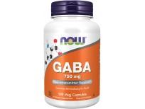 Suplementos NOW Foods, GABA (ácido gamma-aminobutírico) 750 mg, soporte para neurotransmisores*, 100 cápsulas vegetales