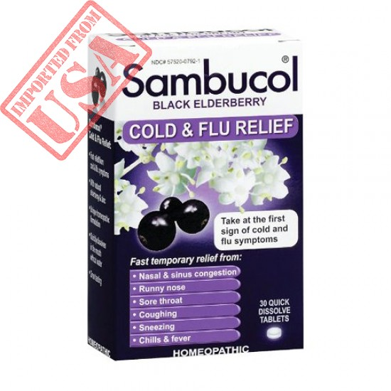 Shop Sambucol Black Elderberry Cold & Flu Relief Tablets Imported from USA
