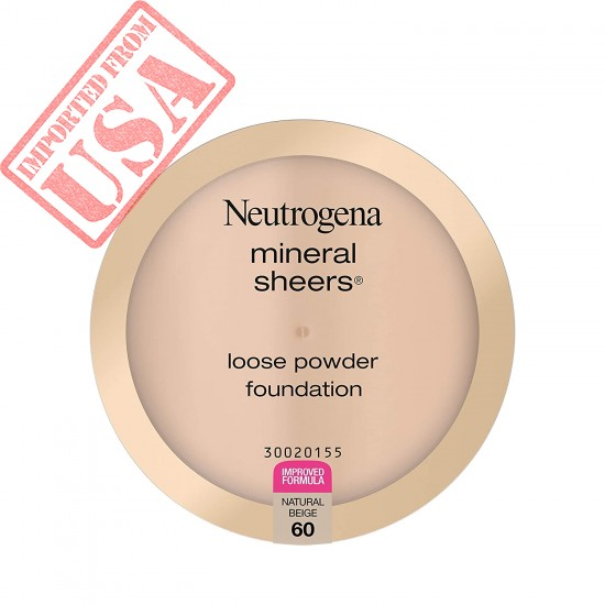Neutrogena Mineral Sheers Lightweight Loose Powder Makeup Foundation with Vitamins A, C, & E, Sheer to Medium Buildable Coverage, Skin Tone Enhancer, Face Redness Reducer, Natural Beige