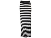 The Home of Fashion New Womens Black and White Horizontal Striped Stretchy Jersey Maxi Dress Skirt Size 8-14