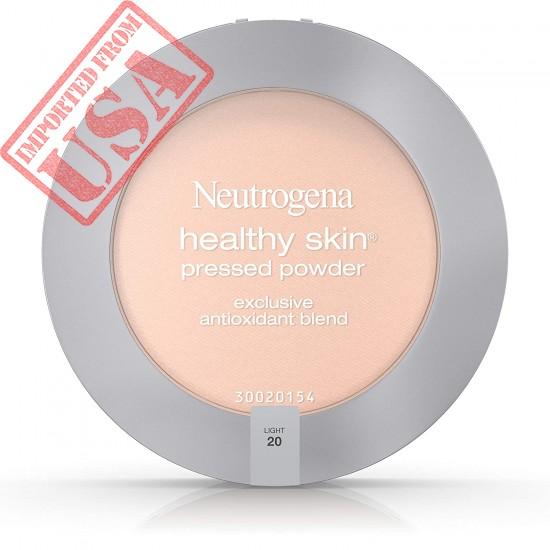 Neutrogena Healthy Skin Pressed Makeup Powder Compact with Antioxidants & Pro Vitamin B5, Evens Skin Tone, Minimizes Shine & Conditions Skin, Light