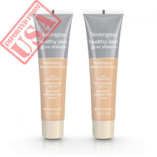 Neutrogena Healthy Skin Glow Sheers Tinted Moisturizer, Oil-Free & Non-Greasy Moisturizer with Antioxidant Vitamins A, C, and E, Broad Spectrum SPF 30 Sunscreen, Light to Medium