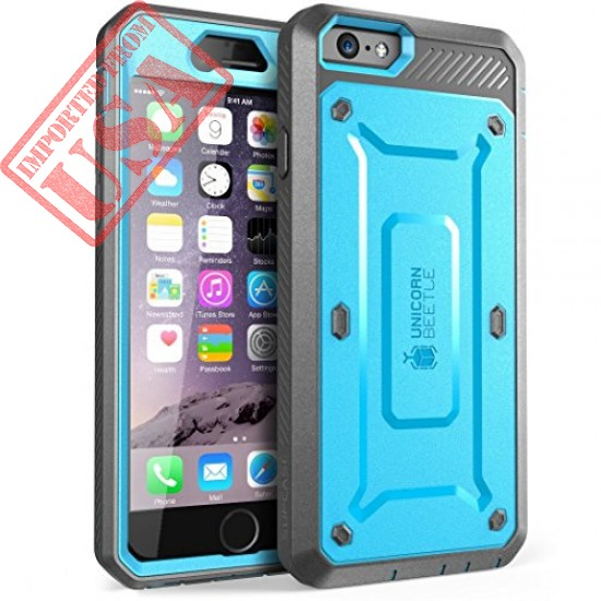 SupCase Case Compatible with iPhone 6 / 6S 4.7 Inch, [Unicorn Beetle Pro] Rugged Holster Cover with Builtin Screen Protector (Blue/Gray)