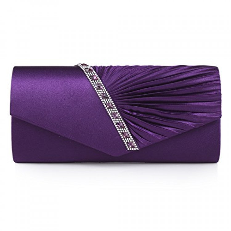 ea135ec41c19 Damara Womens Pleated Crystal-Studded Satin Handbag Evening Clutch ...