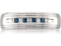 14k White Gold Princess-cut Diamond & Blue Sapphire Men's Wedding Band Ring (1/4 cttw, H-I, I1-I2)