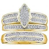 Dazzlingrock Collection 0.28 Carat (ctw) 10K Round Diamond Men & Women's Micro Pave Engagement Ring Trio Set 1/4 CT, Yellow Gold
