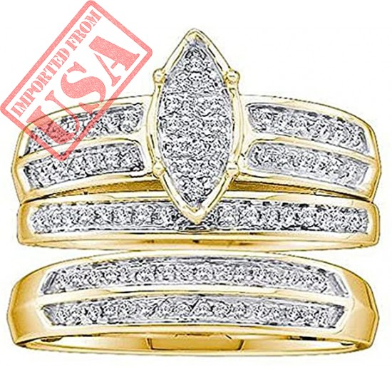 Dazzlingrock Collection 0.28 Carat (ctw) 10K Round Diamond Men & Women's Micro Pave Engagement Ring Trio Set 1/4 CT, Yellow Gold