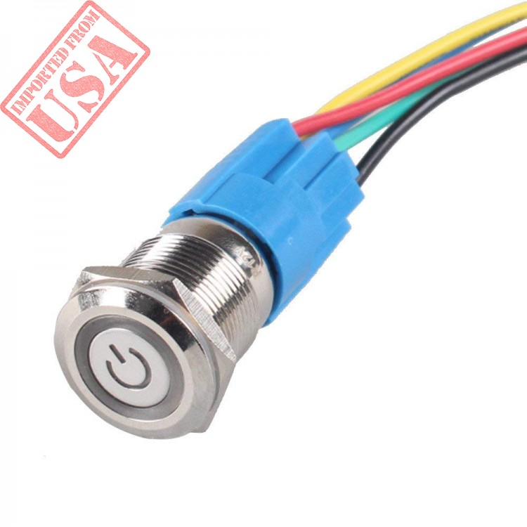ESUPPORT 19mm 12V 5A Power Symbol Angel Eye Halo Car Green LED Light Metal Push Button Toggle Switch Socket Plug Wire