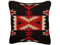 Throw Pillow Covers 18 X 18, Hand Woven Wool in Southwest, Mexican, and Native American Styles. Hand Crafted Western Decorative Pillow Cases in Wool. (Fire Dancer 9)