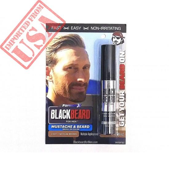 Blackbeard for Men Formula X - Instant Brush-on Beard & Mustache Color - 1-pack (Light/Medium Brown)