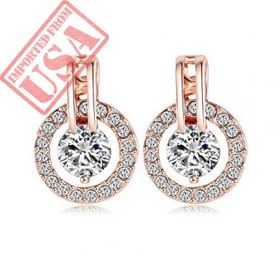 Buy NYKKOLA 18k Rose Gold Plated Circle Halo Stud Earring Online in Pakistan