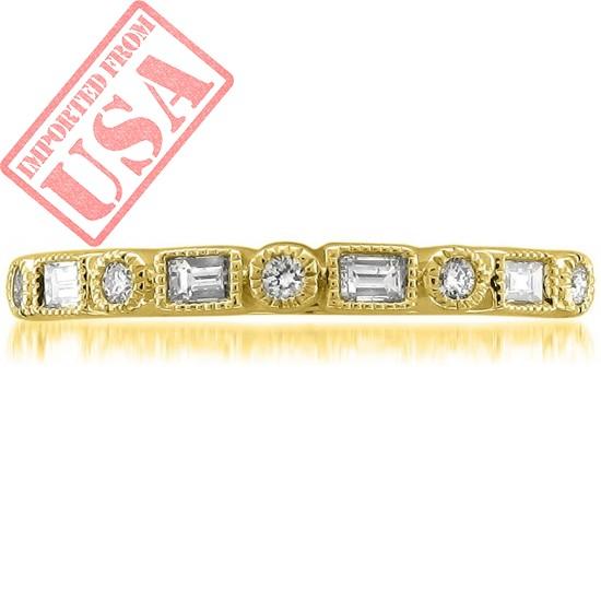 14k Yellow Gold Round & Baguette Diamond Bridal Wedding Band Ring (1/4 cttw, I-J, SI2-I1)