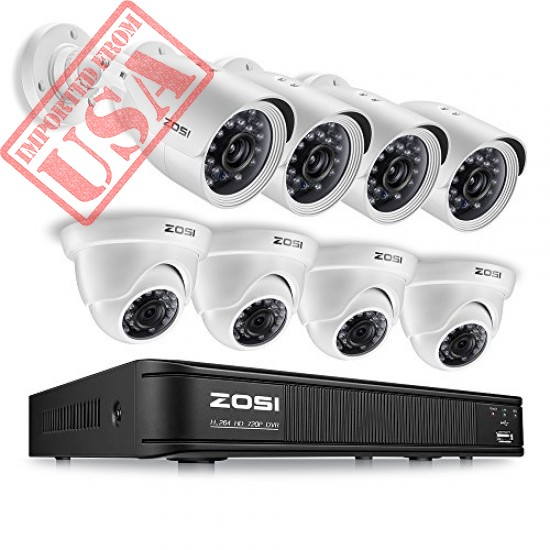 High Quality ZOSI 720p HD-TVI Home Security Camera System Full HD, 8 Channel CCTV imported from USA