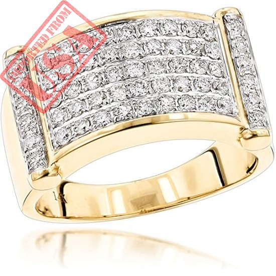 LUXURMAN Rings for Men Unique 14k Gold Mens Natural Diamond Band for Him (1.25 Ct, G-H Color)