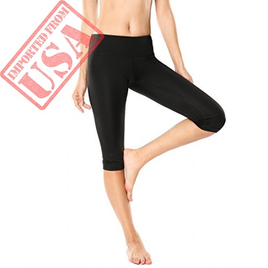 CRZ YOGA Women's Running Tights Workout Capris Cropped Yoga Pants with Pockets