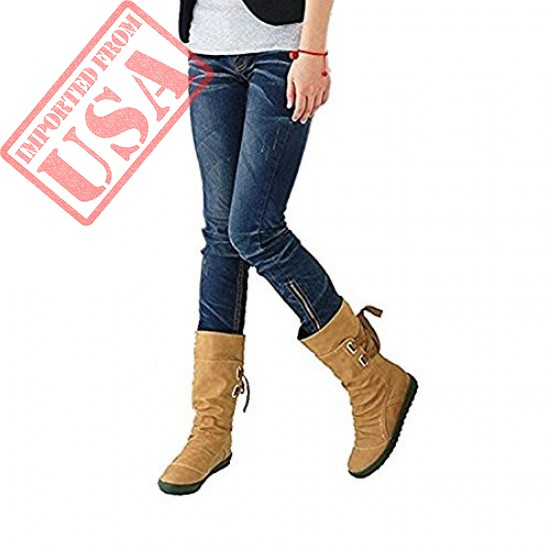 Get online Stylish Back Lace women Snow Boots in Pakistan
