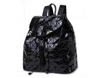 DIOMO Geometric Lingge Laser Women Backpack Travel Shoulder Bag(Black)