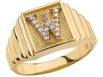 Men's 10k Yellow Gold Layered Band Square Face Diamond Initial Letter W Ring