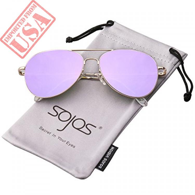 977b2bd9df SojoS Classic Aviator Mirrored Flat Lens Sunglasses Metal Frame with ...