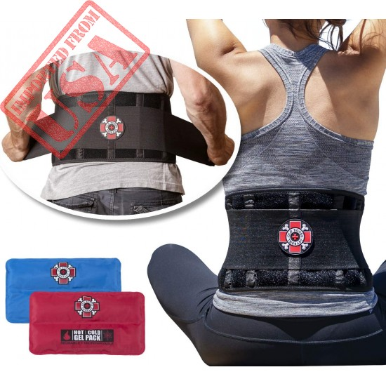 Old Bones Therapy Lower Back Brace with Adjustable Straps and Heat Ice Gel Pack | Lumbar Support for Immediate Relief (Back Brace + Gel Packs, S/M, Fits 27-34 Inches)