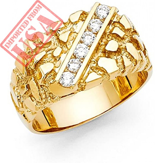 14k Yellow Gold Solid Men's Nugget Ring