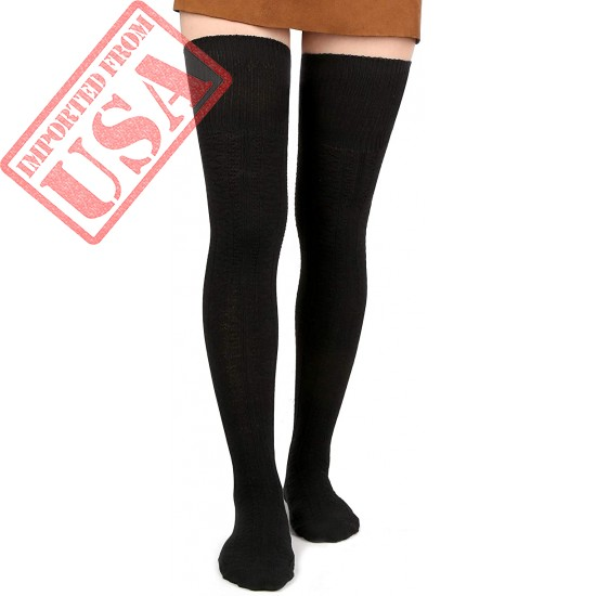 Women Thigh High Socks Extra Long Cotton Knit Warm Thick Tall Long Boot Stockings Leg Warmers
