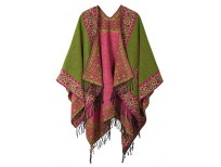 Buy Fashionable Retro Style Vintage Pattern Tassel Poncho Shawl for Women imported from USA