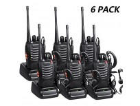 Baofeng Bf-888s VHF Radios Walkie Talkies Long Range with Earpiece Mic Antenna Handheld Two Way Radio 5W Rechargeable 2 Way Radio UHF Ham Transceiver with Headsets Microphone(6 Pack)