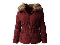 Hat and Beyond EC Womens Quilted Faux Fur Lined Belted Coat (Small/gj1133_mulbery)