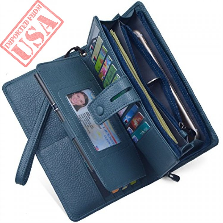 f6c346b17e20d Buy Women's Big Fat Rfid Blocking Leather Wristlets Wallet Organizer  Checkbook Holder Online in Pakistan