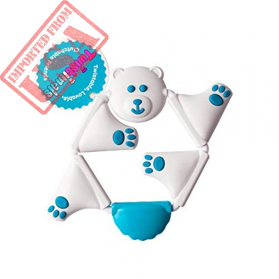 Fat Brain Toys FA163-1 Wendegreifling Bear Cream White and Light Blue