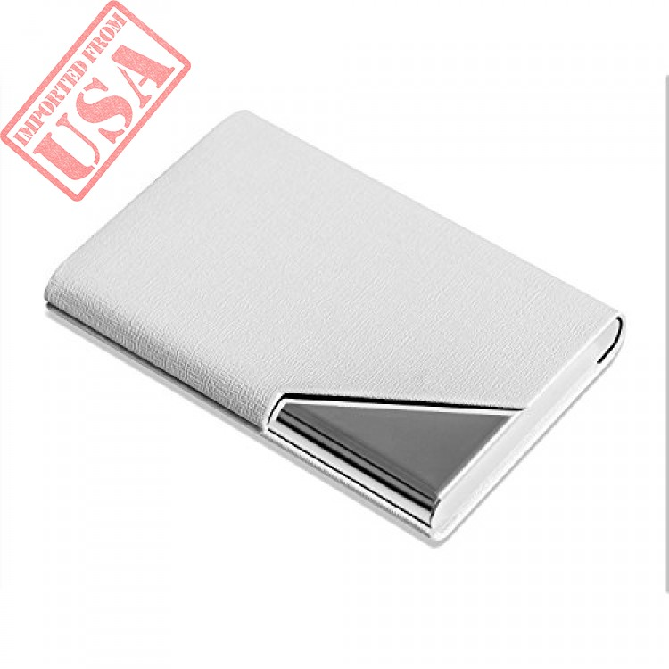 08b72876050d4 Business Name Card Holder Luxury PU Leather   Stainless Steel Multi ...