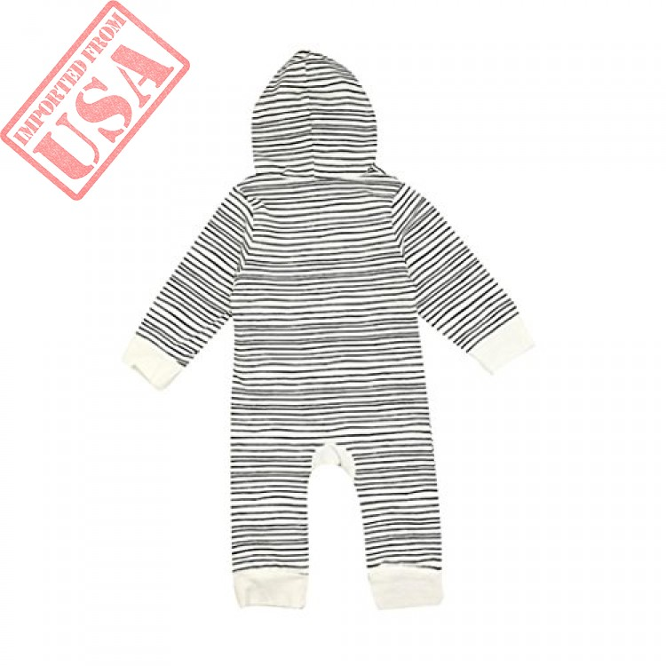 callm Newborn Baby Girls Boys Romper Long Sleeves Hooded Stipe Clothing Jumpsuit