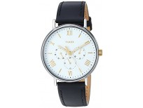 BUY TIMEX MEN'S TW2R80500 SOUTHVIEW 41 MULTIFUNCTION BLACK/WHITE LEATHER STRAP WATCH IMPORTED FROM USA