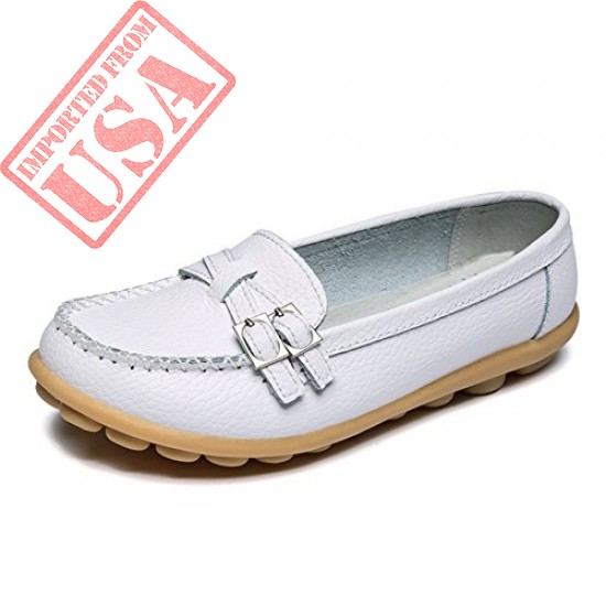 Original LINGTOM Casual Leather Loafers Driving Moccasins Flats Shoes for Women sale in Pakistan