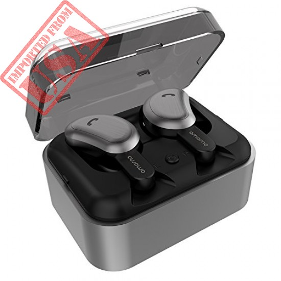Original AMORNO Bluetooth Headphones, Mini Sweatproof Sports Headsets with Charging Case Built-in Mic sale in Pakistan