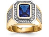 14k Yellow Gold Emerald-cut Blue Cubic Zirconia Mens Ring
