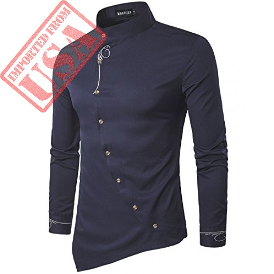 Men's Casual Long Sleeve Oblique Button Down Dress Shirt Tops with Embroidery Navy X-Large
