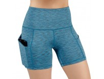 ODODOS High Waist Out Pocket Yoga Short Tummy Control Workout Running Athletic Non See-Through Yoga Shorts,SpaceDyeBlue,Small