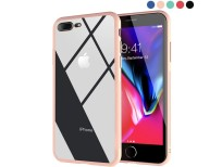 Clear Hybrid Case with Thin Tempered Glass Back Cover and Soft Silicone Rubber Bumper Frame for iPhone 8 Plus/iPhone 7 Plus online in Pakistan