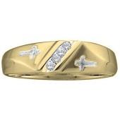 Dazzlingrock Collection 10kt Yellow Gold Mens Round Diamond Single Row Cross Wedding Band 1/20 ctw